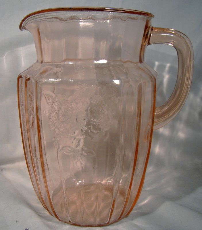 """Mayfair Open Rose Anchor Hocking 8"""" 60 Ounce Pink Depression Water"""