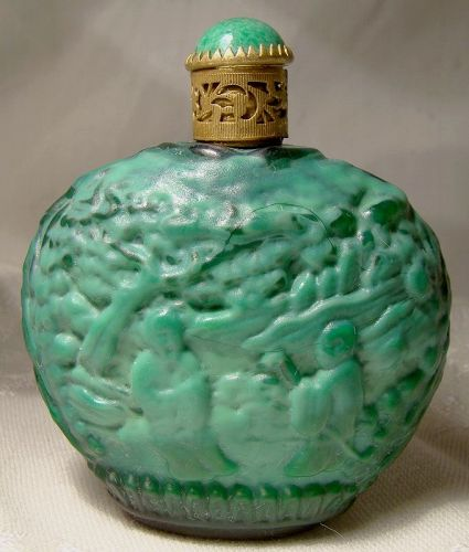 Curt Schlevogt Czechoslovakia Malachite Glass Perfume Bottle 1930s