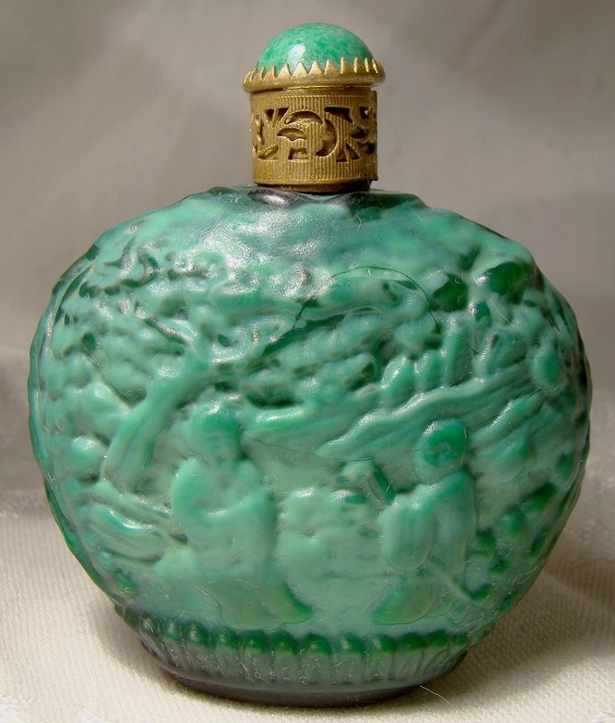 Curt Schlevogt Czechoslovakia Malachite Glass Perfume Bottle 1930s