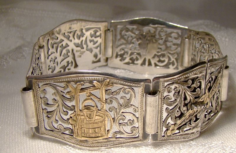 Silver and 18K Gold Inlay Openwork Southwest Style Custom Bracelet