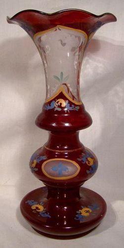 19thC Bohemian Red and Glass Enamel Vase