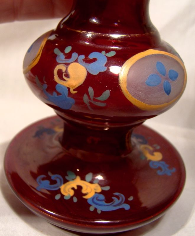 19thC Bohemian Red and Glass Enamel Vase