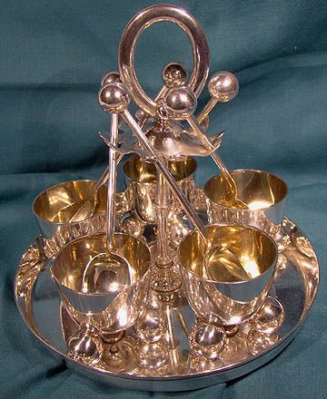 Wm Hutton Silver Plated Arts & Crafts Egg Stand for 5 with Spoons 1900
