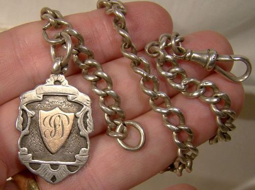 English Sterling Silver Watch Chain with Medal Award Fob Rose Gold