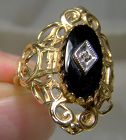 10K Black Onyx and Diamond Filigree Statement Ring Size 6-1/2