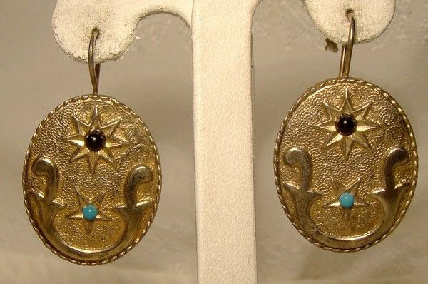 Portuguese Gilt Sterling Silver Earrings with Glass Stones 1960s 1970s