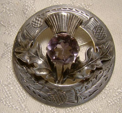 Scottish Sterling Silver & Amethyst Engraved Thistle Pin Brooch 1957