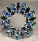 Sherman Blue AB Rhinestone Radiant Circle Pin Brooch 1950s