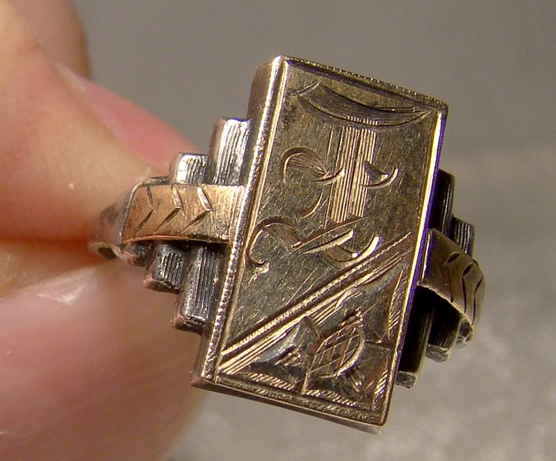 Art Deco Sterling and Gold Front Step Side Signet Ring 1920s Size 5-1/