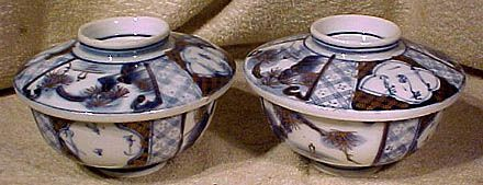 Pair 19thC Japanese Meiji Blue White Porcelain Covered Bowls