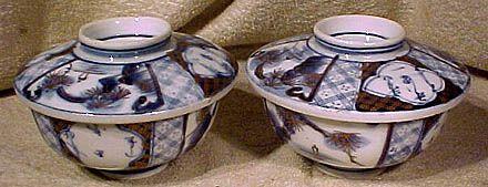 Pair 19thC Japanese Meiji Blue White Porcelain Covered Bowls