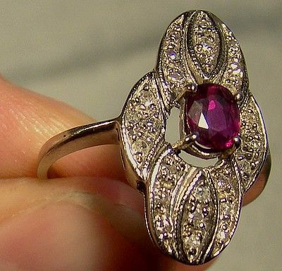 14K White Gold Ruby Diamonds Ring 1940s 14 K Quatrefoil Shape