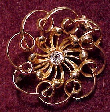 Victorian 14K DIAMOND BROOCH Pin 1890 14 K Whirling Circle