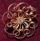 Victorian 14K DIAMOND BROOCH Pin 1890 14 K Whirling Circle