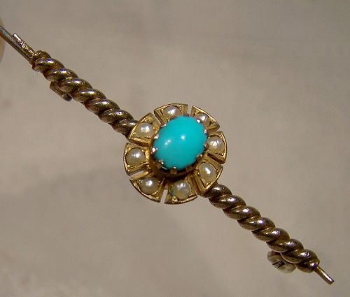 10K Edwardian Turquoise and Pearls Twist Shaft Bar Pin Brooch 1900