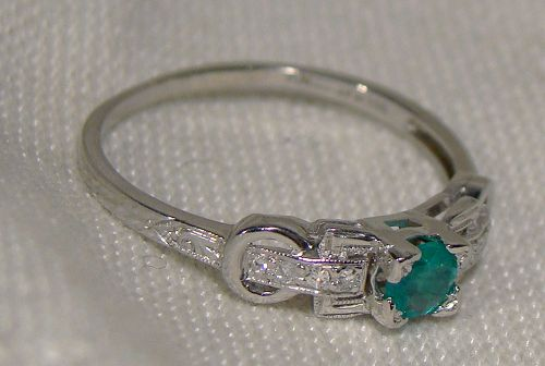 Edwardian Platinum Green Garnet Doublet Diamonds Ring 1910