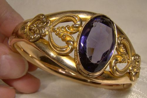 Edwardian Rolled Gold Plate Bangle Bracelet with Purple Cut Glass