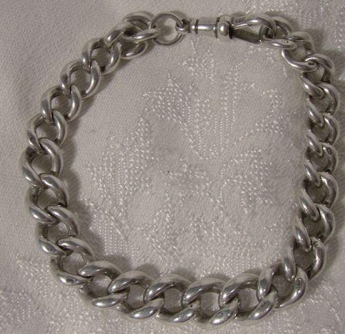 Heavy Sterling Silver Watch Chain Graduated Bracelet 1880s