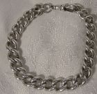 Heavy Sterling Silver Watch Chain Graduated Bracelet 1880s
