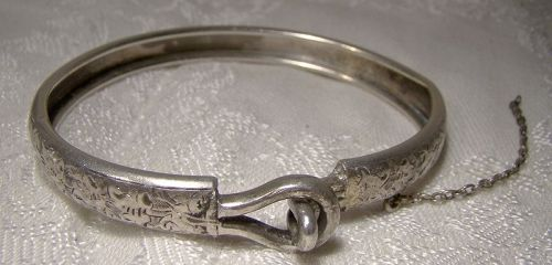 Victorian Hand Engraved Sterling Silver Bangle with Double Loop Clasp