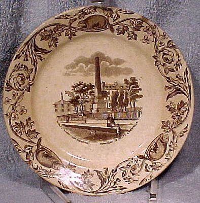 19thC Ironstone Wolfe-Montcalm Monument Quebec Canada Scenes Plate