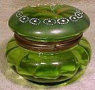 Victorian Green Glass Trinket Box or Jar with Enamel Daisies 1880-1900
