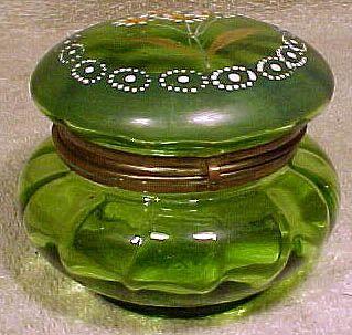 Victorian Green Glass Trinket Box or Jar with Enamel Daisies 1880-1900