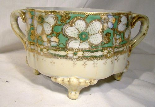 Royal Nippon Hand Painted White Green & Gold Floral Jardiniere Plant