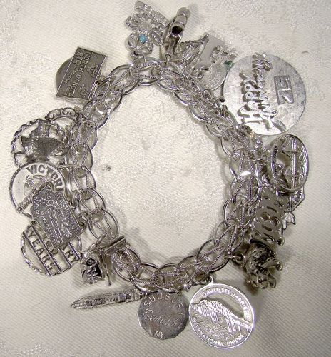 Double Link with Twist Sterling Silver Charm Bracelet with 22 Charms