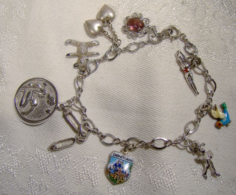 Sterling Chain Link Charm Bracelet with 9 Charms 1960s