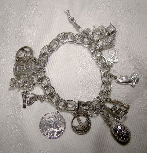 Double Link with Twist Sterling Silver Charm Bracelet with 15 Charms