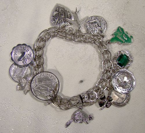 Forstner Sterling Silver Double Link Charm Bracelet with 13 Charms