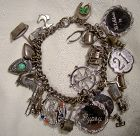 Early Chain Link Silver Plated Charm Bracelet with 24 Charms 1930s +