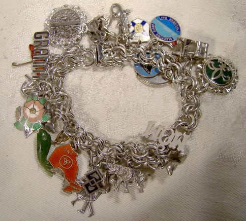 Double Round Link Sterling Silver Charm Bracelet with 28 Charms 1970s