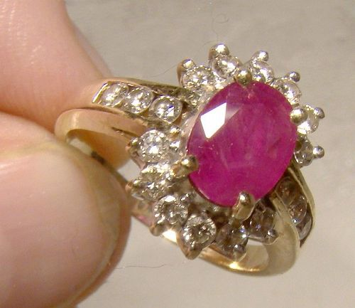 14K Ruby and Diamonds Ring 1980s with Appraisal - Size 6-1/2