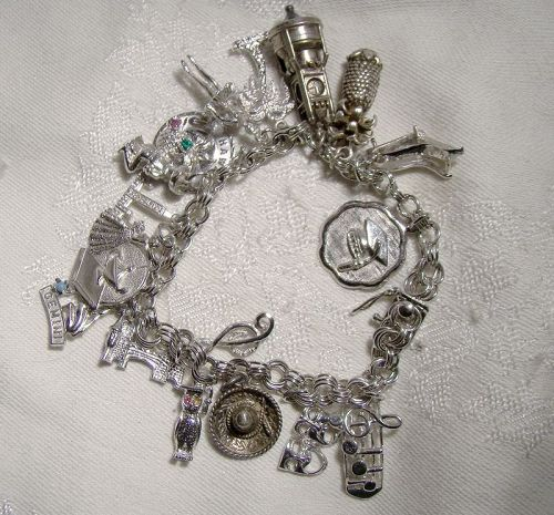 Triple Link Sterling Silver Charm Bracelet 1970s with 18 Charms