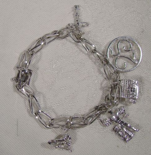 Forstner Fold Over Link Sterling Silver Charm Bracelet with 5 Charms