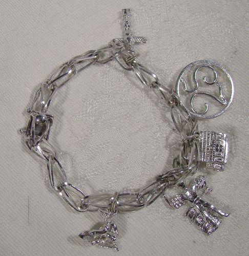 Forstner Fold Over Link Sterling Silver Charm Bracelet with 5 Charms