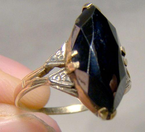 10K Art Deco Black Alaskan Diamond Ring 1930s - Size 5-1/2