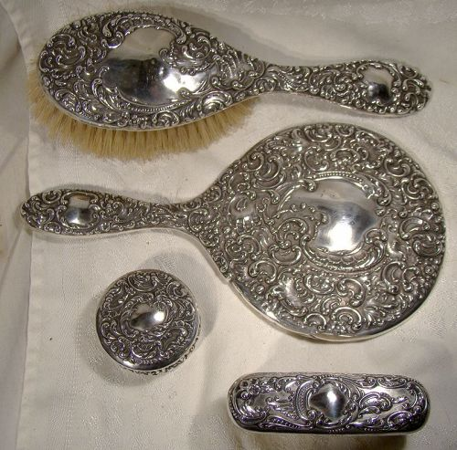 Unger Bros. 4 Piece Sterling Silver Brush Mirror and Box Dresser Set