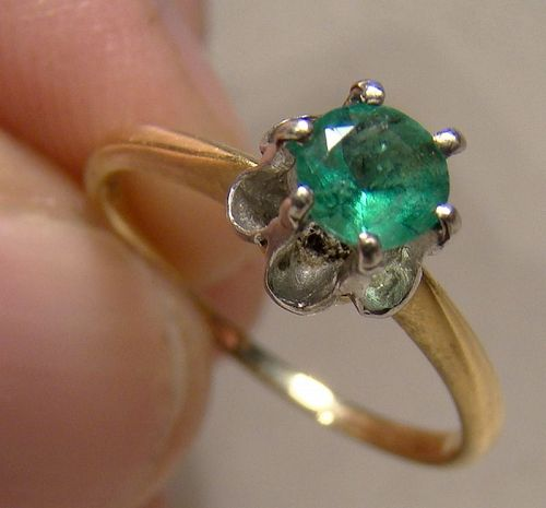 18K Yellow Gold Emerald Solitaire Ring 1930s - Size 5