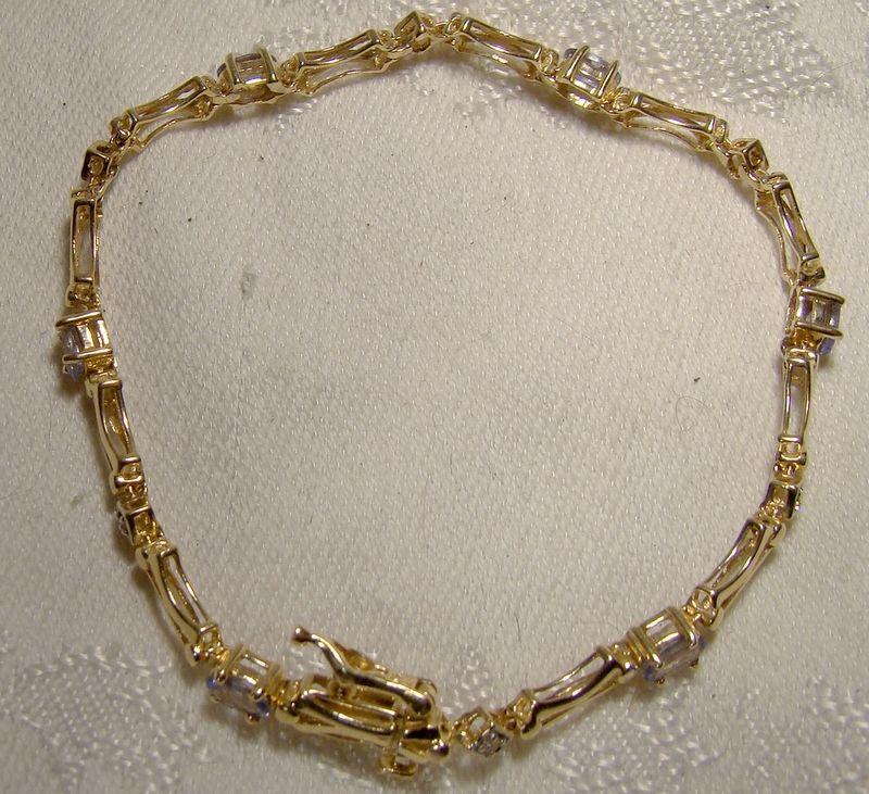 14K Tanzanite and Diamonds Tennis Bracelet 1980s