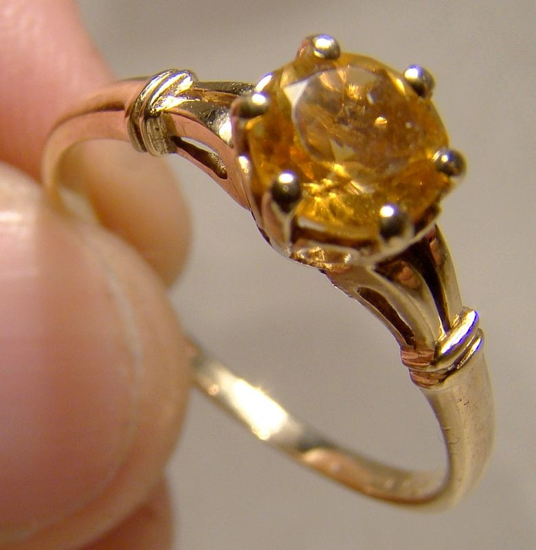 10K Citrine Citrene Solitaire Ring 1950s - Size 8