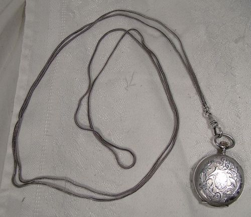 Swiss Sterling Silver Engraved Hunter Case Pocket Watch with Chain