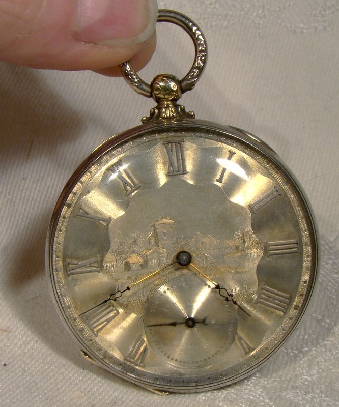 M.J. Tobias Liverpool 18K & Sterling Engraved Face Swiss Pocket Watch