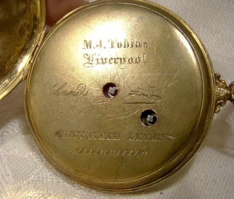 M.J. Tobias Liverpool 18K & Sterling Engraved Face Swiss Pocket Watch