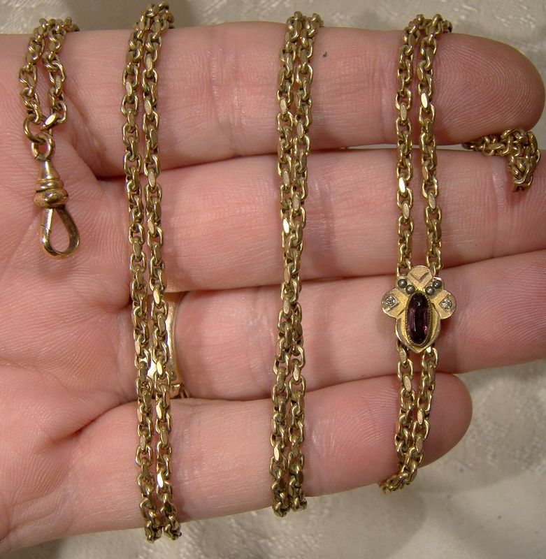 Victorian Gold Filled Watch Chain with Seed Pearl and Glass Slide 1890