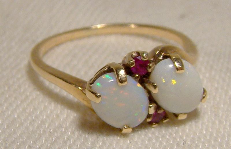10K Double Opals and Red Spinels Ring 1960s - Size 5-1/2