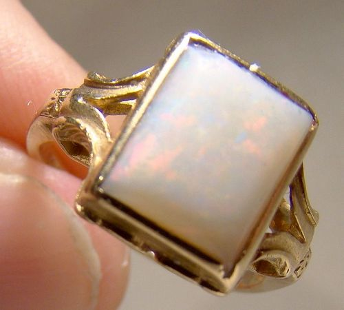 10K Yellow Gold Natural Opal Ring 1930s 1940s - Size 6