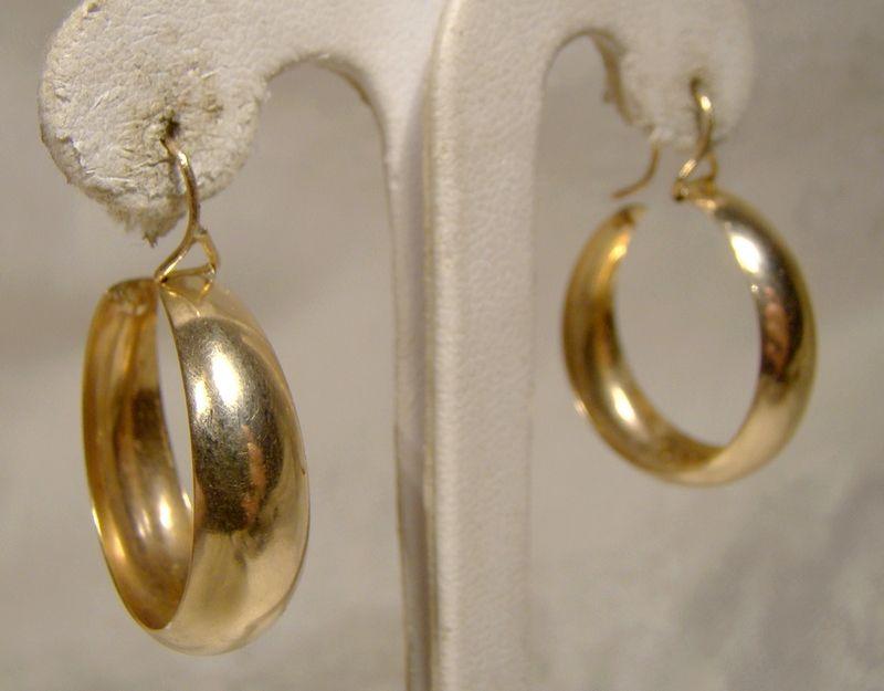 10k Yellow Gold Hoop Earrings 1960s